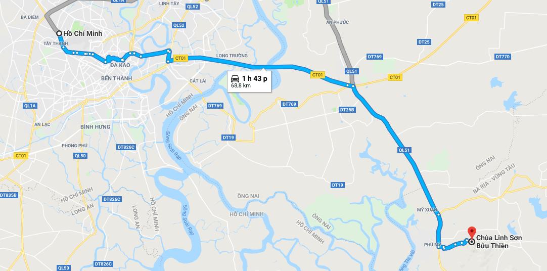 Bản đồ đường đi tới chùa Linh Sơn Bửu Thiên
