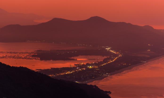Sunset over Danang city viewed from Hai Van Pass
