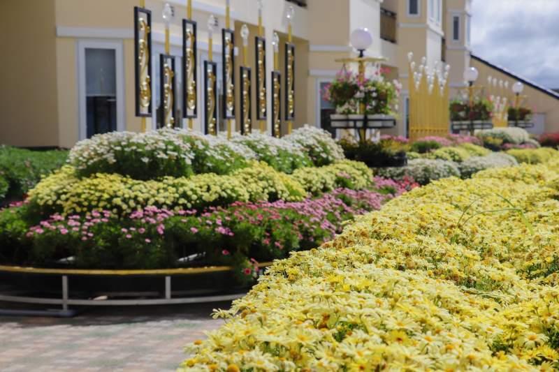Khuôn viên tràn ngập sắc màu từ các loại hoa tươi. Ảnh: ST